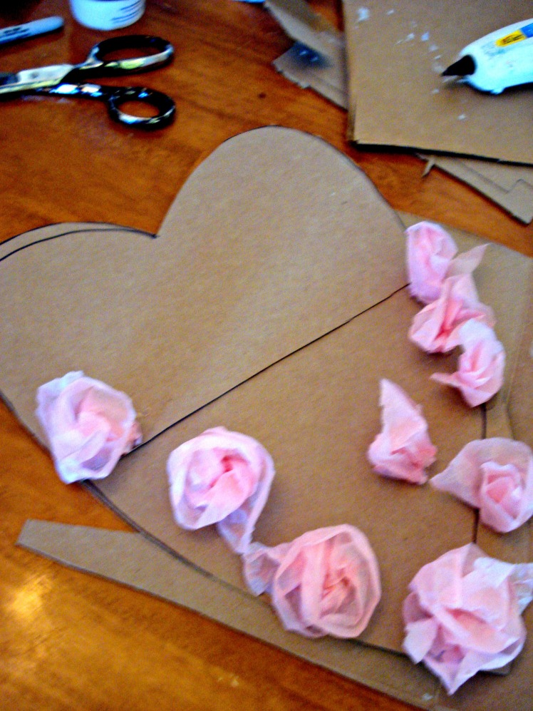 Valentines Tissue Paper Wreathe