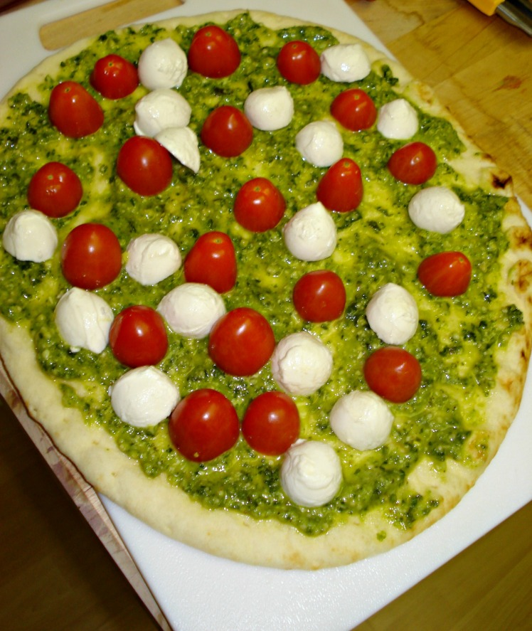 Pesto Tomato and Bocconcini Pizza