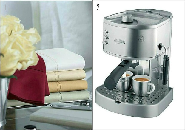 sheets and latte machine