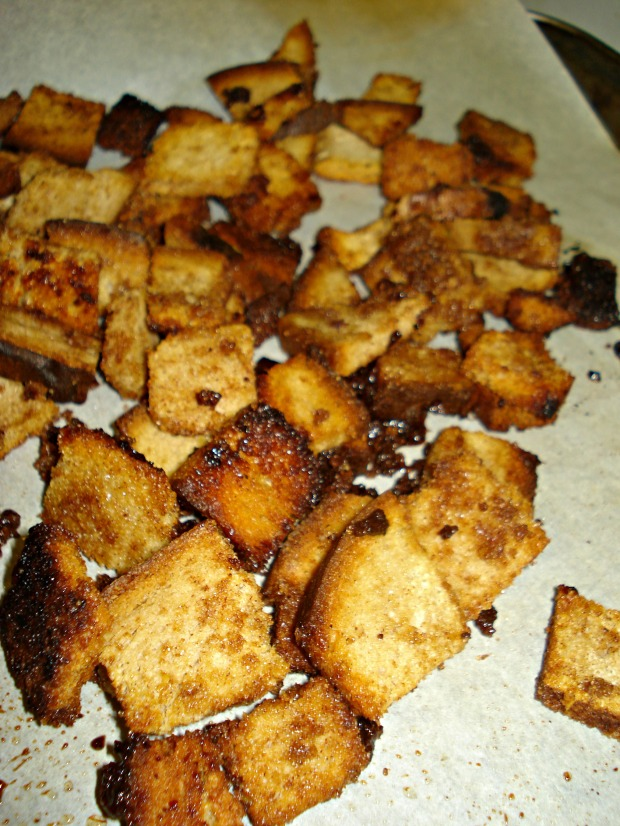 Bourbon Sweet Potato Soup with Brown Butter Cinnamon Sugar Croutons