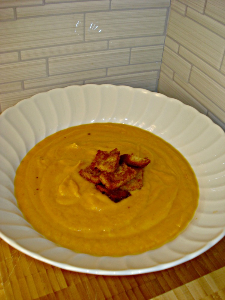 Bourbon Sweet Potato Soup with Brown Butter Cinnamon Sugar Croutons