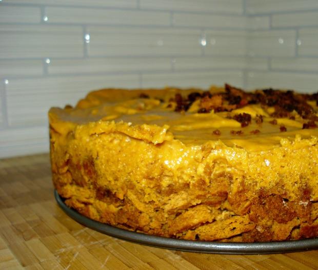 No Bake/ Egg Free Pumpkin Cheesecake with Praline Sauce