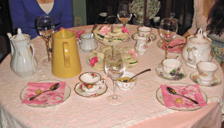 A twist on girls night: a tea party! Such a fun idea!