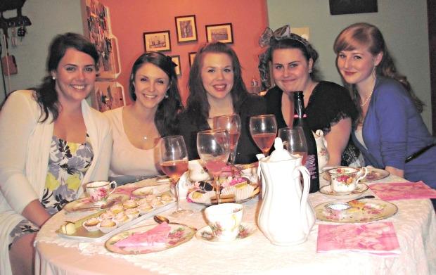 A twist on girls night: a tea party! Such a fun idea!