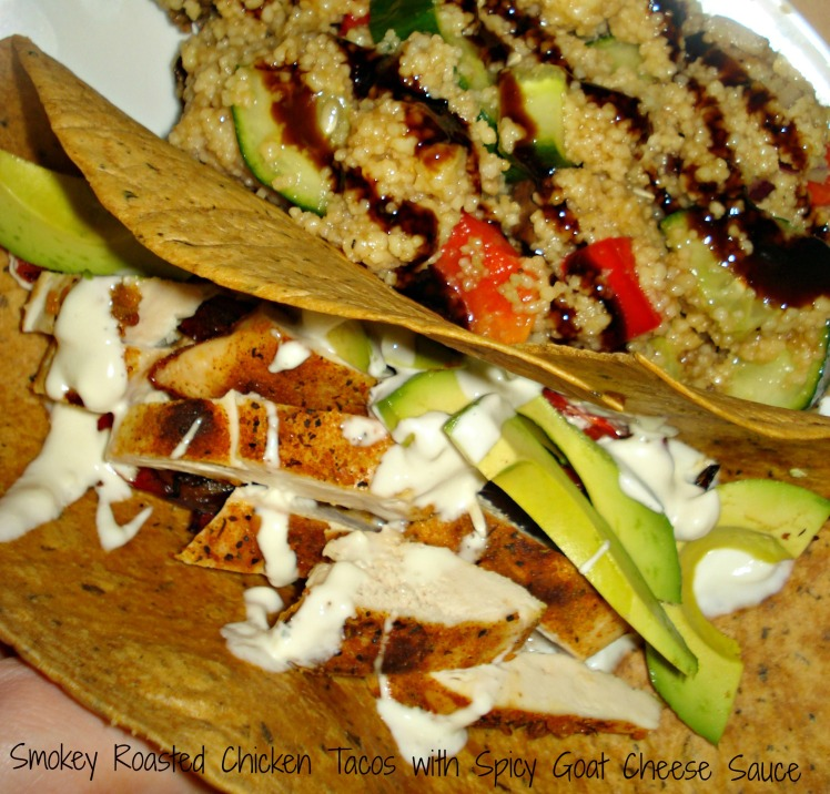 A quick, easy and healthy weeknight meal: Smokey roasted chicken tacos with spicy blue cheese sauce