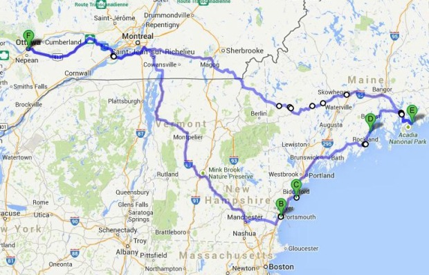 New England Roadtrip Route Map  | 1924 London
