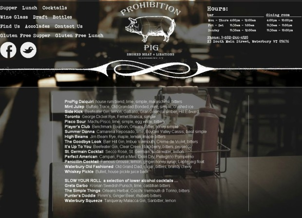 Prohibition Pig Cocktail Menu in Waterbury Vermont  | 1924 London
