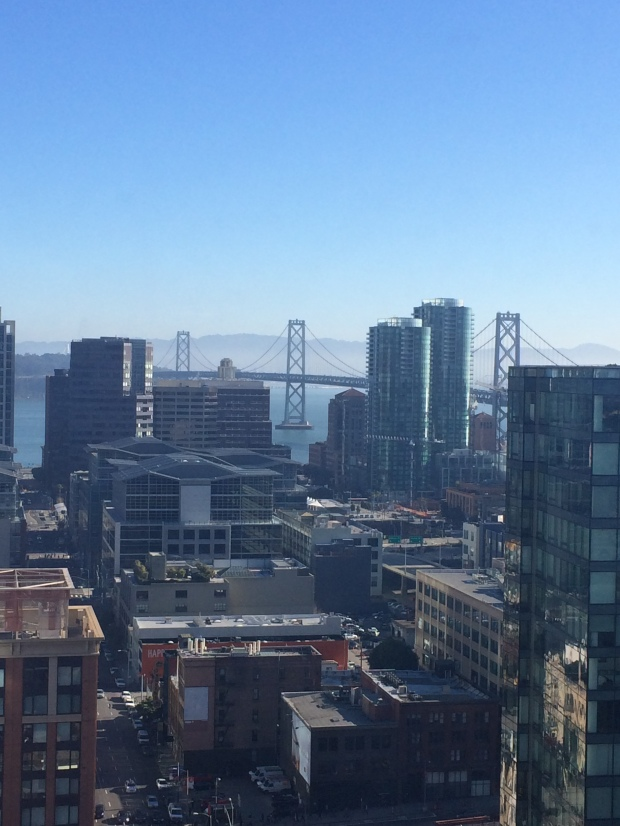 View of the Bay Bridge from our room at the W San Francisco