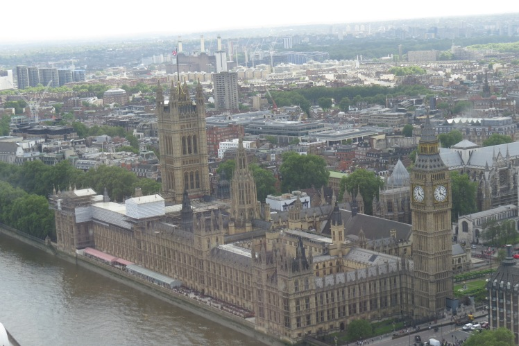 View of Parliament from the top of the London Eye